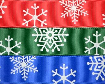 Snowflake Grosgrain 1 inch (25mm) wide