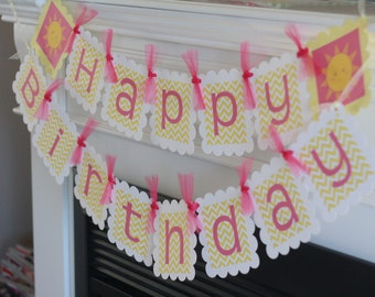 Happy Birthday Little Sunshine You Are My Sunshine Hot Pink Yellow Chevron Theme Banner - Party Pack Specials - Free Ship Over 65.00