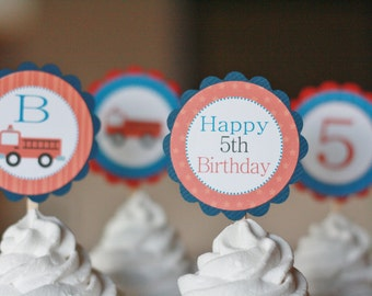 12 Fireman Firetruck Theme Red Navy Birthday Cupcake Toppers - Ask About our Party Pack Sale - Free Ship Over 65.00