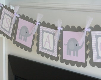 "Baby Shower Lavender Purple & Grey Elephant ""It's a Girl"" Baby Shower Banner - Ask About Party Pack"