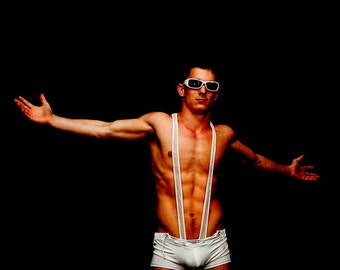 Ghetto Fabulous Version 2 Gay Art Male Art Photo Print by Michael Taggart Photography shirtless muscle muscular abs sunglasses white black
