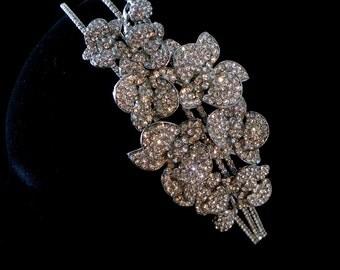 Jewelled bridal headpiece, Swarovski side tiara - Orchadia
