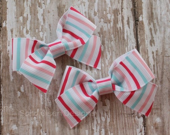 Petite Classic Hairbow, Set of 2, Shocking Pink White Blue Stripes, Simple Bows, 2.5 Inch Hairbow, Hair Clip, Girls Hairbows, Pair of Bows