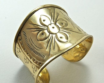 Brass Cuff Bracelet with Engraved Flower