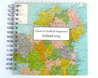 Travel Journal for Honeymoon, Year Abroad, Mission Trip or Graduation Gift. Includes vintage map of Ireland and customization.