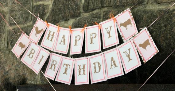 Girl Farm Birthday Party Banner (pink gingham)- PRINTABLE