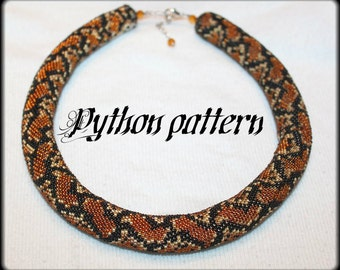 Python snake skin bead crochet rope necklace pattern