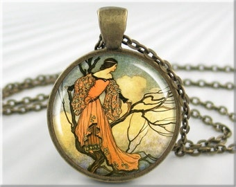 Warwick Goble Art Pendant Necklace Resin Charm Fantasy Fairy Tale Art Ironstove Jewelry (619RB)