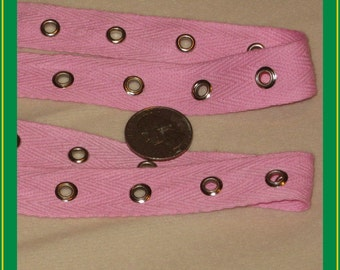 Pink grommet tape - PRECUT 3 yd+,  cotton trim, 3/4ths inches wide