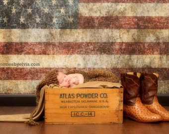 NEW ITEM 5ft x 4ft Grungy American Flag Patriotic Red White Blue Vinyl Photography Backdrop / 4th of July