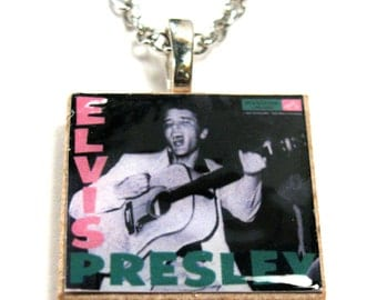 Elvis Presley album 1 inch scrabble tile necklace chain included