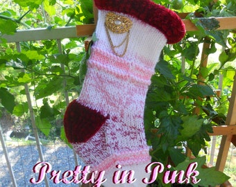 Pretty in Pink with Vintage Jewelry Knitted Christmas Stocking