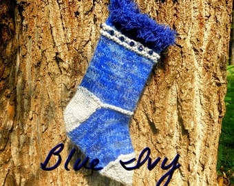 Blue  Ivy Knitted Christmas Stockings,  Holiday Decor