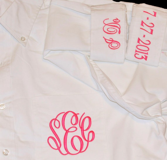 Monogrammed Bride Shirt Button Down Personalized Bride Shirt Getting Ready Shirt Oversized Shirt