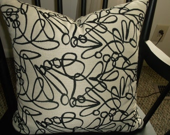 Upscale Black And White Very Modern Contemporary, Woven Designer Textile, Stuffed Accent Pillows, Heavy Fabric, Ultra Modern Pattern 2 Avail