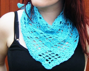 Crochet Scarf Turquoise Triangular Kerchief Summer Scarf
