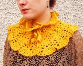 Mustard Accessories Crochet Capelet