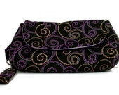 Black clutch, purple wristlet,bags and purses, small handbag, gift for her