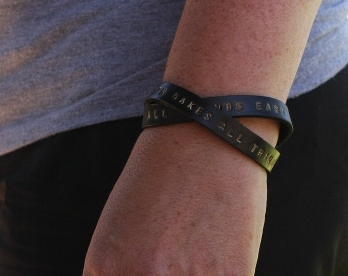 TWO WRAPS Custom engraved bracelet - Quote wrap - meaningful jewelry - spiritual words - awareness, zen bracelet