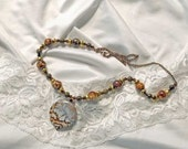 Necklace-Leopard skin-Agate-Beads-Bronze beads-agate beads-anitque chain-handmade