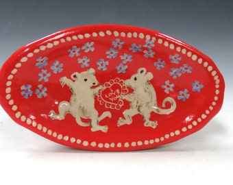 Sweethearts DANCING MICE on Small Red Dish Sgraffito Carved for Trinkets Jewelry Pottery