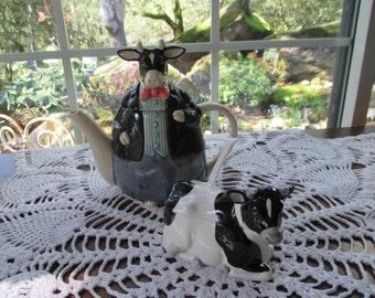 Vintage Otagiri Cow Teapot & Sugar Bowl Set