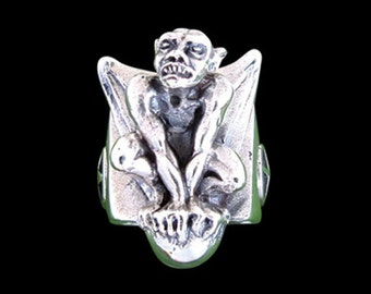 Solid 92.5% Sterling Silver Gargoyle Ring - Free Re-Size/Shipping