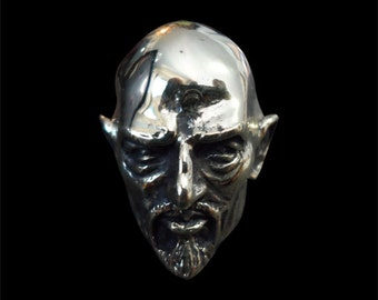 Solid Bronze Anton Lavey The Pope of the Church of Satan Ring - Free Re-Size/Shipping