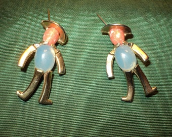 2 Vintage Male Figurine Pins with Genuine Gems used in the face and bodice in good vintage condition, great for a same sex male couple