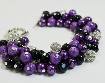 Purple/ Black Pearls and Rhinestones Bracelet, Halloween Bracelet, Black & Purple Bracelet, Black Chunky Bracelet, Purple Cluster Bracelet