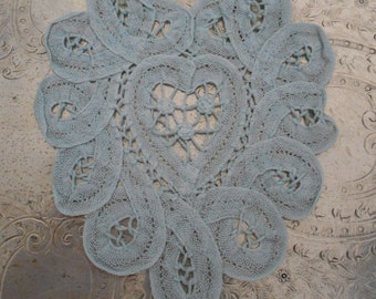 Aqua Blue Battenburg Lace Doilies