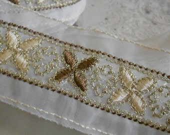 Taupe Ecru and Gold Floral Stitched Trim