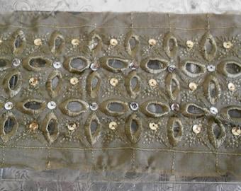 Khaki Stitched Sequined Trim
