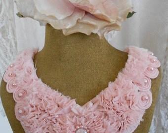 Pink Rosette Pearl Rhinestone Appliques