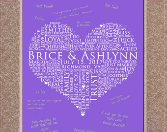 16x20 Signature Guest Book, Wedding heart Guestbook, Wedding Gift Sign In, WEDDING GUESTBOOK SIGNATURE poster, love words poster