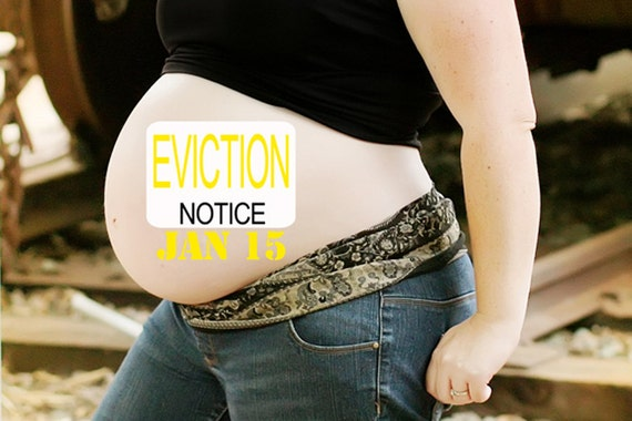 "Fun and Unique ""Eviction Notice"" and ""Due Date"" Baby Bump Pregnancy Sticker"