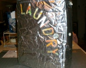 """Laundry Hamper - lined - appliqued lettering - lined - 18"""" x 14"""" x 12""""  - made form recycled coffee bags  - made to order"""