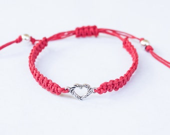 Small Heart Hemp Bracelet Friendship Adjustable Bracelet