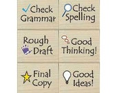 Notes to Students Rubber Stamp (6 Rubber Stamps for Teachers & Parents) Teacher Stamp Set • Classroom • Back to School • Home School (LL779)