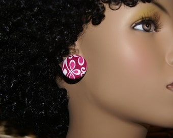 Fabric Covered Button Earrings- Pink Frills