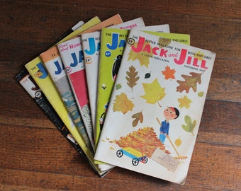 """Instant Collection - Set of 7 Vintage Jack and Jill Children's Magazines (""""The Better Magazine for Boys and Girls"""")"""