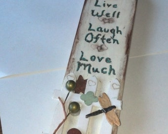Wooden Home Decor,Home GIFTS, Live Well,Laugh Often,Love Much Wood Decor, Spring Sale, Home Decor Sale