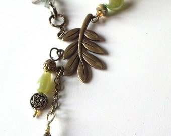 Green Jasper Stone and Quartz  with Large Brass Leave and  Branch Necklace,  Jewelry SALE, Custom Gemstone Loaded Jewelry