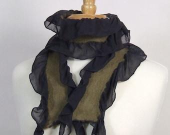 Black Silk Scarf Chiffon Nuno Felted Khaki Merino Wool Ruffle