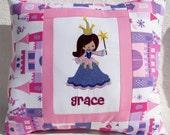 Pink Embroidered Name Pillow Cover - Princess- Girl Birthday Nursery Kids Room Gift Decor