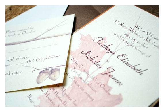 Woodland Watercolor Leaves Invitations
