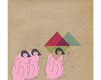 Contemporary Art Print- Penguins Geometric 9x9