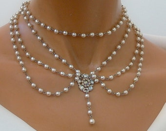 Bridal Necklace Silver Flower Necklace Victorian Wedding Necklace pearl Wedding Necklace Crystals Necklace Rhinestone Pearls Necklace OOAK