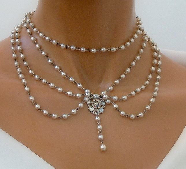 Choker Necklace Etsy: Bridal Necklace Silver Flower Necklace Victorian By