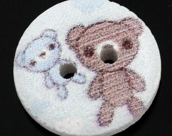 Wood Bear Buttons Painted Design - 2 Hole Button - 15mm - 25pcs- Ships Immediately from California - W44